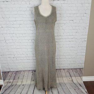Cache Silver Column Dress Maxi Metallic Sheath L